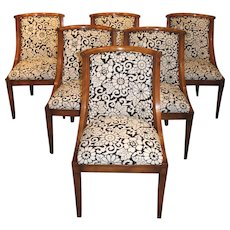 Set of Six Old Colony Mid Century Custom Cherry Dining Chairs with Bold Upholstery