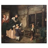 Rudolf Oppenheim Genre Oil Painting of Women and Children 1868