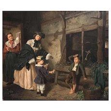 Rudolf Oppenheim Genre Oil Painting of Women and Children 1868