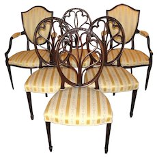Set of Six Custom Solid Mahogany Upholstered Dining Chairs by Joseph Gerte, Boston
