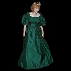 Paul Crees Signed Lady Diana, Princess of Wales  27 Inch Doll in Green Chiffon, 1985