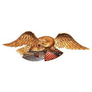 Carved Polychrome Gilt Eagle Attributed to the Boston Artistic Carving Company