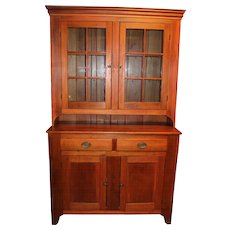 19th Century Pennsylvania Stepback Cupboard with Glazed Doors