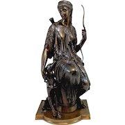 Auguste Joseph Peiffer, Cast Bronze Classical Sculpture of a Diana the Huntress