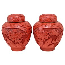 Pair of Chinese Cinnabar Covered Ginger Jars with Blue Enamel Base & Interior