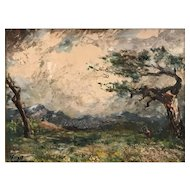 Albert Lorey Groll, Carson City Nevada Landscape Oil Painting, The Storm Cloud