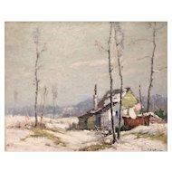 Junius Allen Winter Landscape Oil Painting - The Squatter's Hut