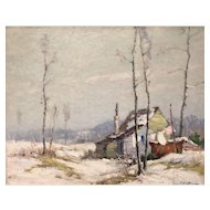 Junius Allen Winter Landscape Oil Painting - The Squatter's Hut