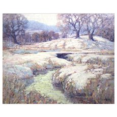 John William Bentley Oil Painting Winter Landscape with Stream