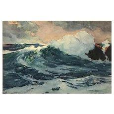 Stanley Woodward Marine Watercolor Coastal Seascape, Bermuda Swell