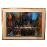 Leonardo M. Nierman Modernist Abstract Oil Painting, Floating City 1966