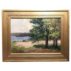 Charles Edwin Lewis Green Landscape Oil Painting - Parker River, Milton, NH