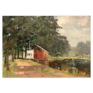 Charles Edwin Lewis Green Landscape Oil Painting - Silver Lake, Tilton, NH
