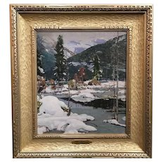 Aldro Thompson Hibbard Impressionist Oil Painting of a Winter Landscape