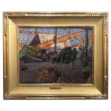 Aldro Thompson Hibbard Impressionist Oil Painting, Harbor of Venice, Italy, 1914