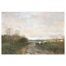 Charles Paul Gruppe Watercolor Landscape Painting with Cows
