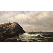 Wesley Elbridge Webber Oil Painting Coastal Scene with Figures on a Bluff, Probably Maine