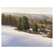 David Dodge Winter Landscape Oil Painting, Peterborough Hills