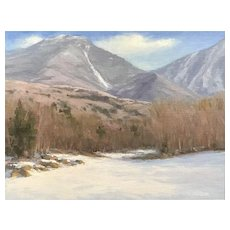 David Dodge Winter Landscape Oil Painting, Mt. Liberty from Woodstock NH