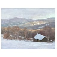David Dodge Winter Landscape Oil Painting, Vermont Hills Stowe