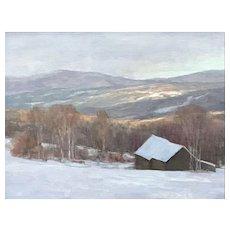 David Dodge Winter Landscape Oil Painting, Vermont Hills Stowe