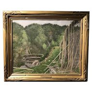 Frank Vincent DuMond Landscape Oil Painting with Wooden Train Trestle