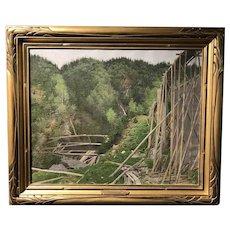Frank Vincent DuMond Landscape Oil Painting with Wooden Train Trestle