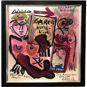 Peter Robert Keil Modernist Mixed Media Painting, Meet the Garlic People