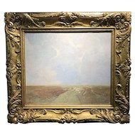 Emil Soren Carlsen Marsh Landscape Oil Painting, Probably Long Island Sound