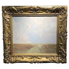 Emil Soren Carlsen Marsh Landscape Oil Painting, Probably Long Island Sound