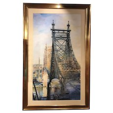 Alexander Creswell Large Watercolor Painting, The Queensboro Bridge 2, 2006