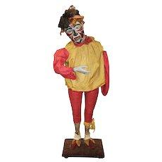 19th c Polychrome Papier-Mâché Clown Automaton