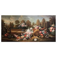 18th c Old Master Still Life Oil Painting with Fruit & Flowers