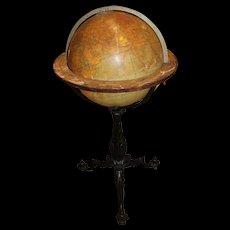 English 18 Inch Terrestrial Globe on Cast Iron Stand, W & A.K. Johnston, circa 19th Century