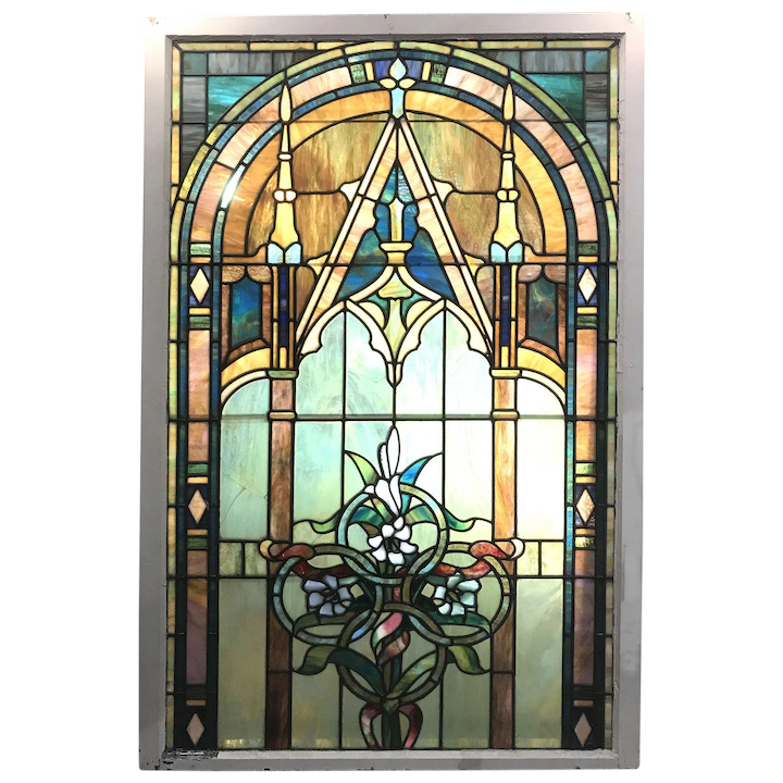20th C Large Stained Gl Window