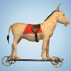 Early 20th c Steiff Ride On Donkey on Wrought Iron Cart