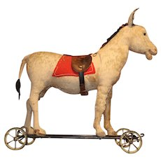 Early 20th c Steiff Ride On Donkey on Wrought Iron Cart