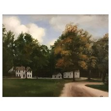 Mary Phillips Landscape Oil Painting, New England Neighbors
