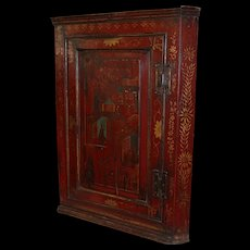 18th c Polychrome Hanging Corner Cupboard with Chinoiserie Decoration