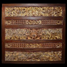 19th Century Indonesian Carved Wooden Gilt Panel with Foliate Decoration