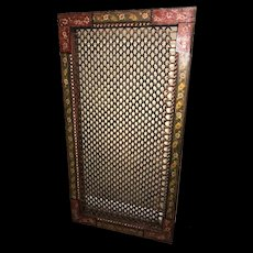19th Century Indian Polychrome Wood and Wrought Iron Surround or Panel