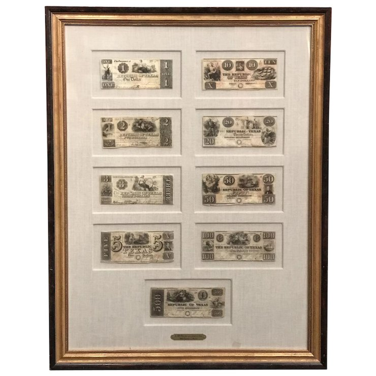 Framed Collection of Nine Republic of Texas Currency Notes 1839-1841 ...