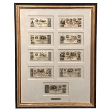 Framed Collection of Nine Republic of Texas Currency Notes 1839-1841