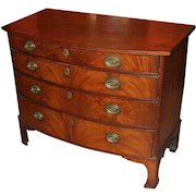 Transitional Mahogany Swell Front Chest with Tall Bracket Feet circa 1790-1810