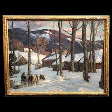 Aldro Thompson Hibbard Winter Landscape Painting, Sugaring Time, circa 1925