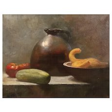 Stan Phillips Oil Painting Still Life with Stoneware & Vegetables