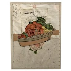 Varujan Boghosian Framed Paper Collage with Boat, Flowers, and Constellation Map