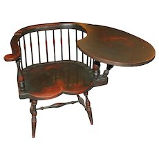 Peter Wallace Polychrome Low Back Windsor Chair with Left Handed Writing Arm