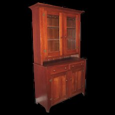 19th c Two Part Country Stepback Cupboard with Glazed Doors