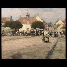 Ernest Lee Major Townscape Oil Painting, Etaples, France 1888